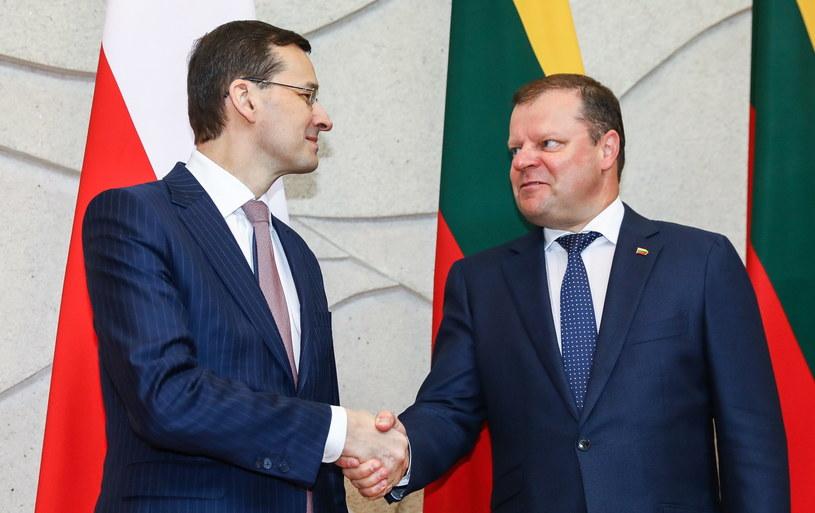 Premier Mateusz Morawiecki podczas spotkania z szefem litewskiego rządu Sauliusem Skvernelisem /Rafał Guz   /PAP