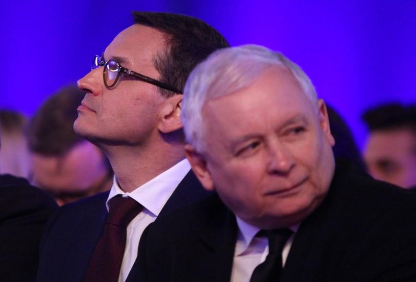 Premier Mateusz Morawiecki  prezes Jarosław Kaczyński /Stefan Maszewski /Reporter