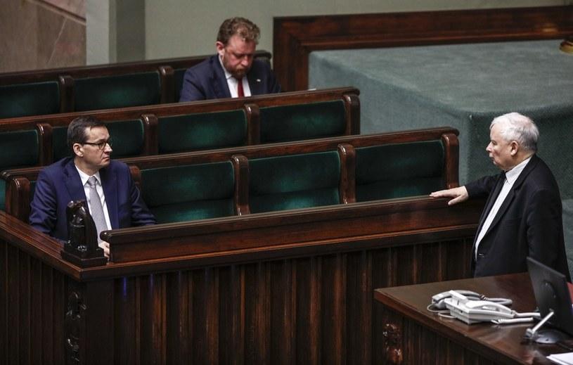 Premier Mateusz Morawiecki, prezes PiS Jarosław Kaczyński i minister zdrowia Łukasz Szumowski /Dudek Jerzy /Agencja FORUM