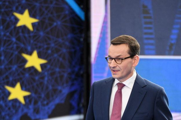 Premier Mateusz Morawiecki przemawia podczas konwencji regionalnej PiS w Jasionce /Darek Delmanowicz /PAP