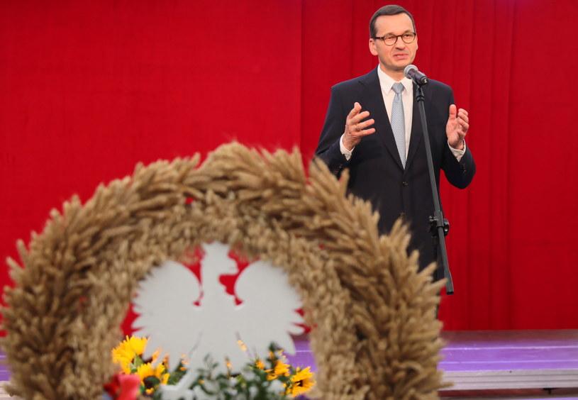 Premier Mateusz Morawiecki przemawia podczas uroczystości dożynkowych w Dąbrowie Górniczej / Andrzej Grygiel    /PAP