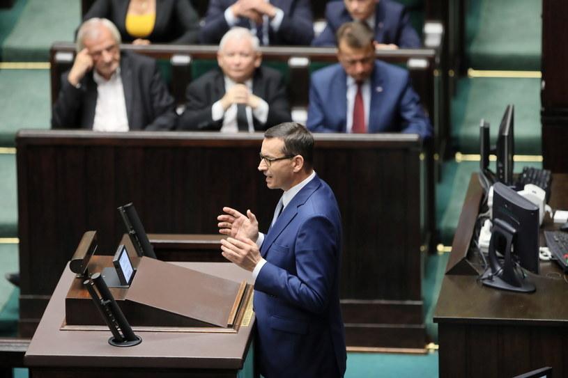 Premier Mateusz Morawiecki przemawia w Sejmie /Leszek Szymański /PAP