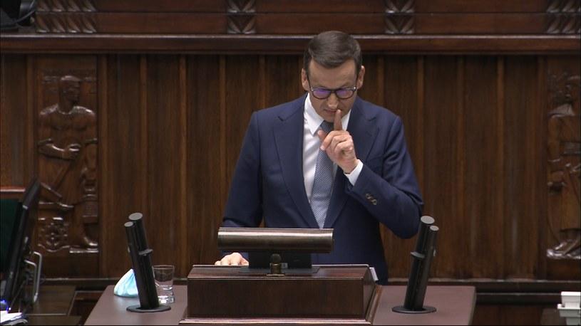 Premier Mateusz Morawiecki uciszał posłów opozycji w Sejmie /Polsat News