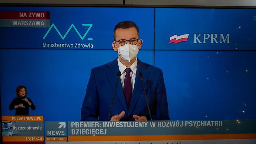 Premier Mateusz Morawiecki w czasie konferencji prasowej /INTERIA.PL