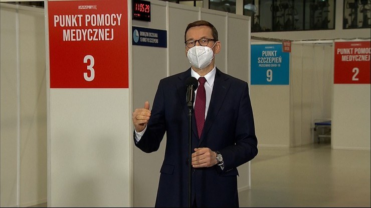 Premier Mateusz Morawiecki w gdańskim punkcie szczepień /Polsat News /Polsat News