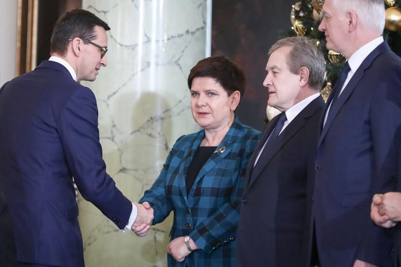 Premier Mateusz Morawiecki, wicepremierzy: Beata Szydło, Piotr Gliński i Jarosław Gowin /fot. Andrzej Iwanczuk /Reporter