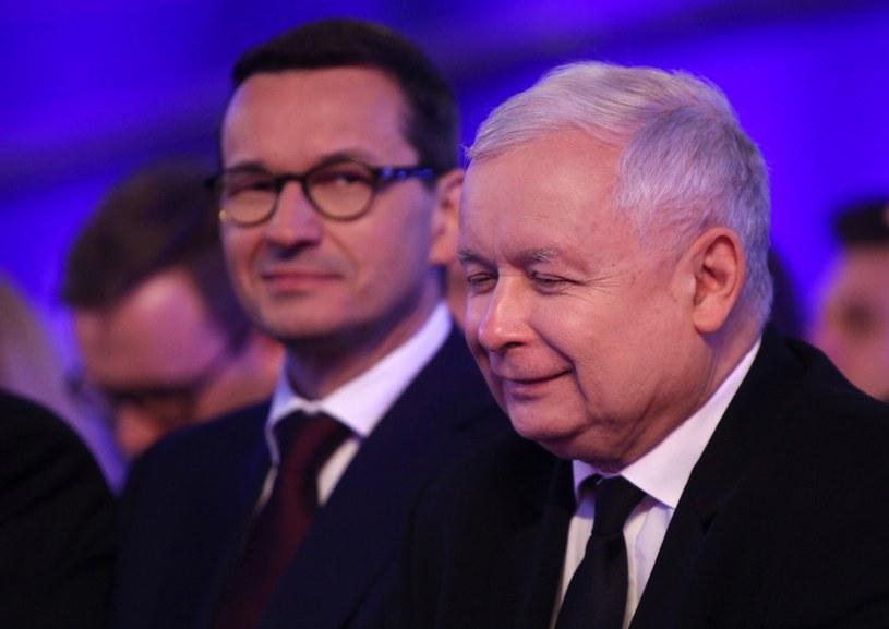 Premier Morawiecki w towarzystwie prezesa PiS /Stefan Maszewski /Reporter