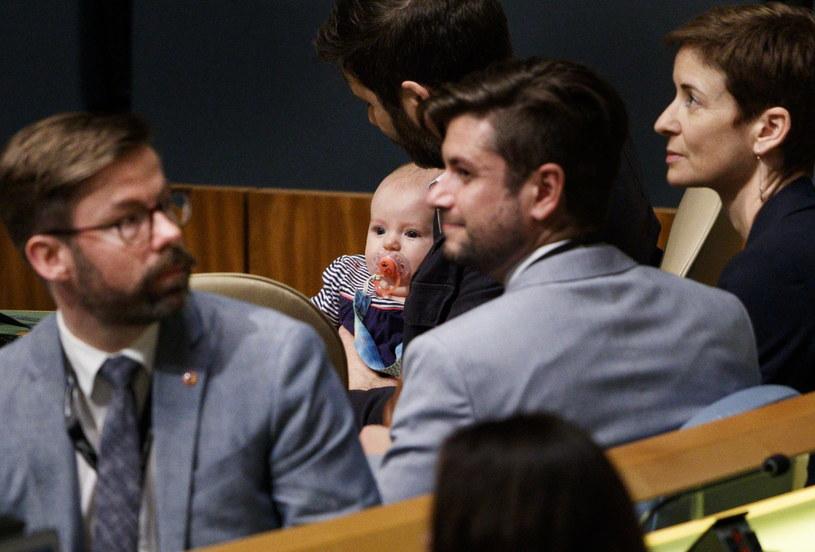 Premier Nowej Zelandii Jacinda Ardern zabrała na sesję Zgromadzenia Ogólnego ONZ w Nowym Jorku swoją trzymiesięczną córeczkę Neve /JUSTIN LANE /PAP/EPA