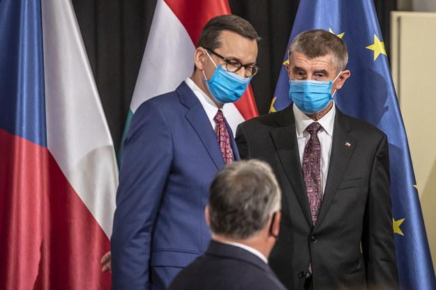 Premier Polski Mateusz Morawiecki i premier Czech Andrej Babisz /Martin Divisek /PAP