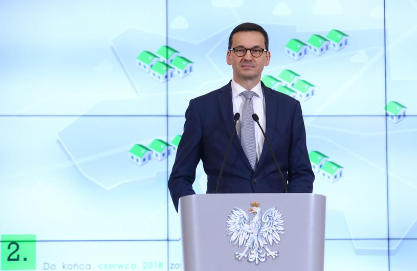 Premier Polski Mateusz Morawiecki podczas konferencji prasowej /Rafał Guz   /PAP