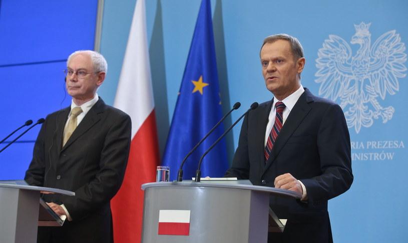 Premier RP Donald Tusk (P) i szef Rady Europejskiej Herman Van Rompuy (L) /Rafał Guz /PAP