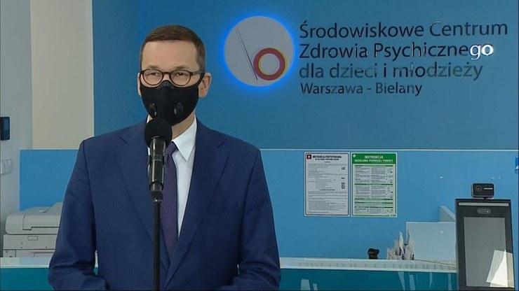 Premier RP Mateusz Morawiecki podczas konferencji prasowej /Polsat News