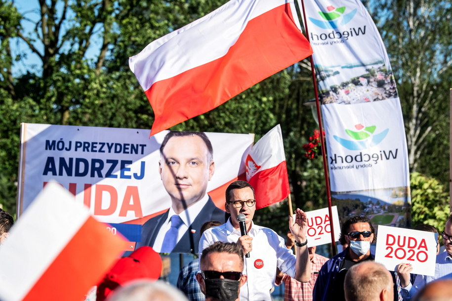 Premier RP Mateusz Morawiecki  podczas spotkania z mieszkańcami w Więcborku /\Tytus Żmijewski /PAP