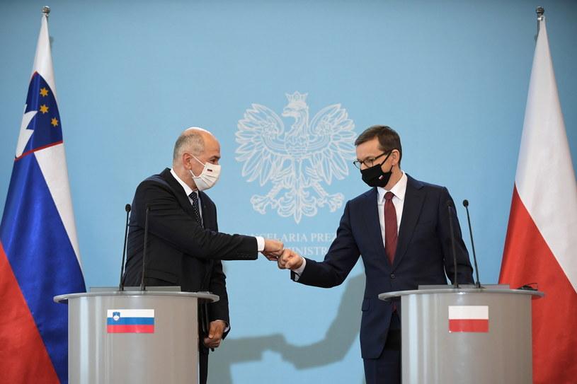 Premier Słowenii Janez Jansa i polski premier Mateusz Morawiecki /Marcin Obara /PAP