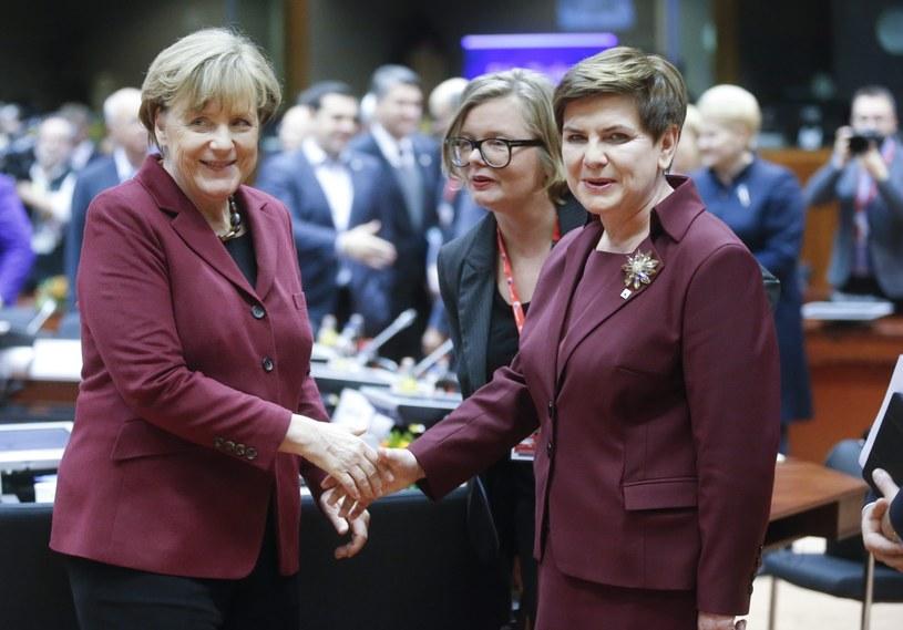 Premier Szydło w towarzystwie kanclerz Merkel podczas szczytu UE-Turcja /OLIVIER HOSLET /PAP/EPA