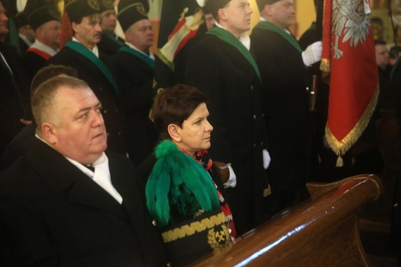 Premier Szydło w trakcie uroczystości barbórkowych /Tomasz Kawka /East News
