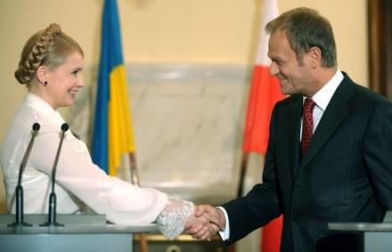 Premier Ukrainy Julia Tymoszenko i premier Polski Donald Tusk /AFP