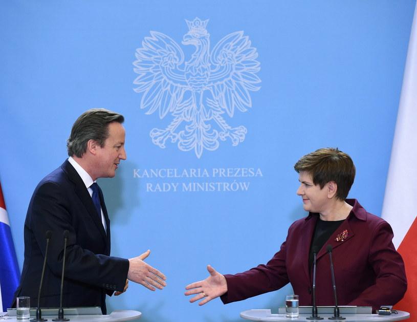 Premier Wielkiej Brytanii David Cameron i szefowa polskiego rządu Beata Szydło /Radek Pietruszka /PAP