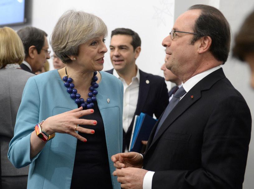 Premier Wielkiej Brytanii Theresa May i prezydent Francji Francois Hollande /AFP