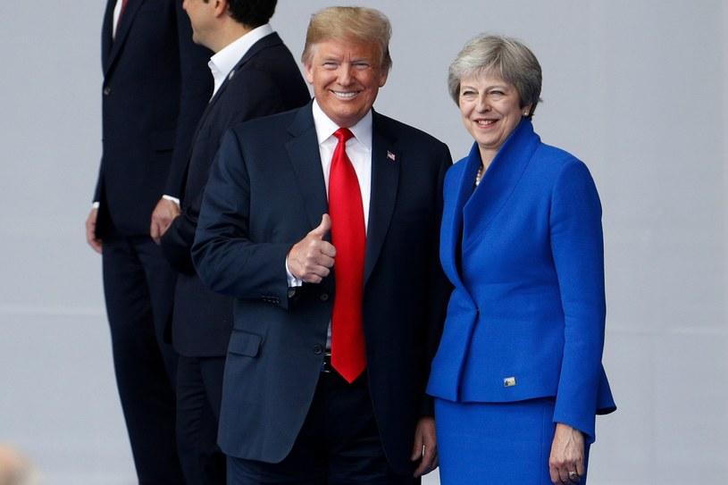 Premier Wielkiej Brytanii Theresa May i prezydent Stanów Zjednoczonych Donald Trump podczas szczytu NATO w Brukseli /GEOFFROY VAN DER HASSELT /AFP