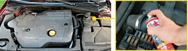 Preparat aplikuje się bezpośrednio do rury układu dolotowego za filtrem powietrza i przepływomierzem. Aby dostać się do przewodu trzeba odkręcić opaskę. /Motor