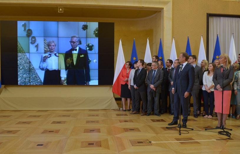 Prezentacja spotu z okazji 10-lecia Polski w UE /Radek Pietruszka /PAP