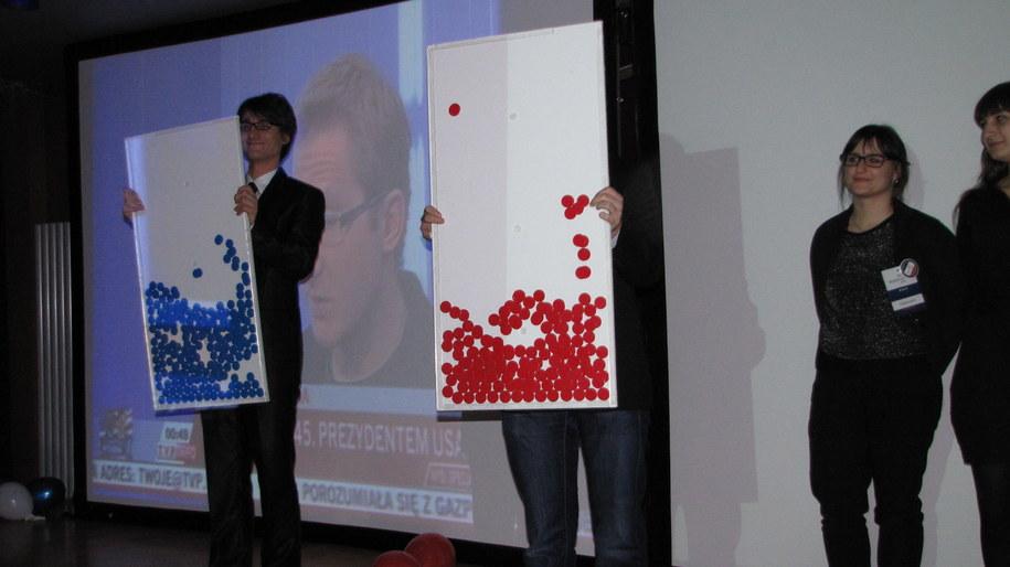 Prezentacja wyników głosowania - niebieskie żetony to głosy oddane na Obamę /Maciej Grzyb /RMF FM