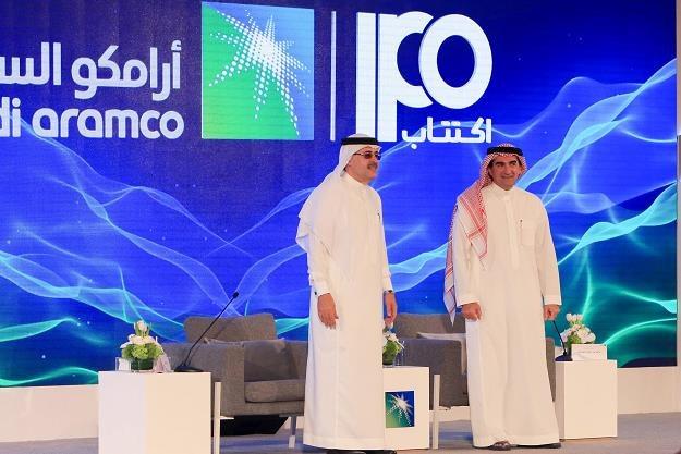 Prezes Aramco  Amin Nasser (L) i dyrektor firmy Yasir al-Rumayyan /AFP