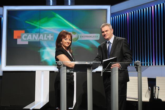 Prezes Canal+ Cyfrowy Beata Mońka i prezes Ekstraklasy SA Andrzej Rusko/fot. Leszek Szymański /PAP
