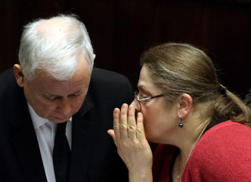 Prezes Jarosław Kaczyński i posłanka Krystyna Pawłowicz /Fot. Slawomir Kaminsk /