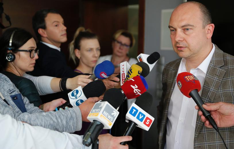Prezes JSW Daniel Ozon podczas briefingu prasowego, / Andrzej Grygiel /PAP