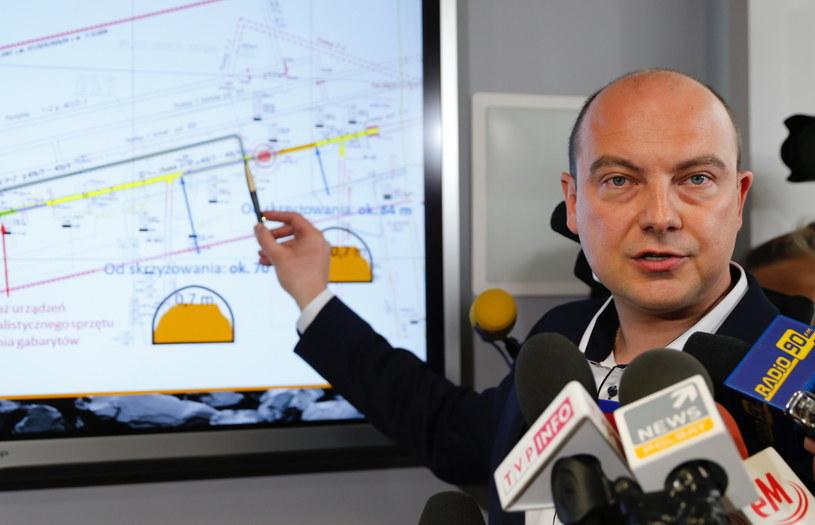 Prezes JSW Daniel Ozon podczas konferencji prasowej w kopalni Borynia-Zofiówka-Jastrzębie / Andrzej Grygiel /PAP