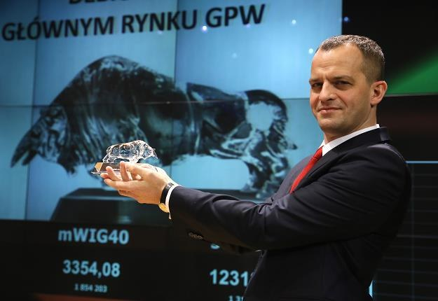 Prezes Lokum Deweloper Bartosz Kuźniar  wczasie debiutu na GPW /PAP