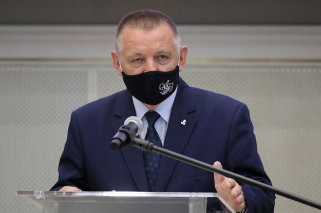 Prezes Najwyższej Izby Kontroli Marian Banaś podczas konferencji prasowej w siedzibie NIK w Warszawie /Paweł Supernak /PAP