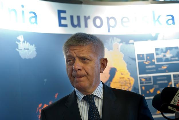 Prezes Narodowego Banku Polskiego Marek Belka w trakcie otwarcia wystawy w Łodzi /PAP