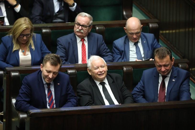 Prezes PiS Jarosław Kaczyński (C-dół) /Wojciech Olkuśnik /PAP