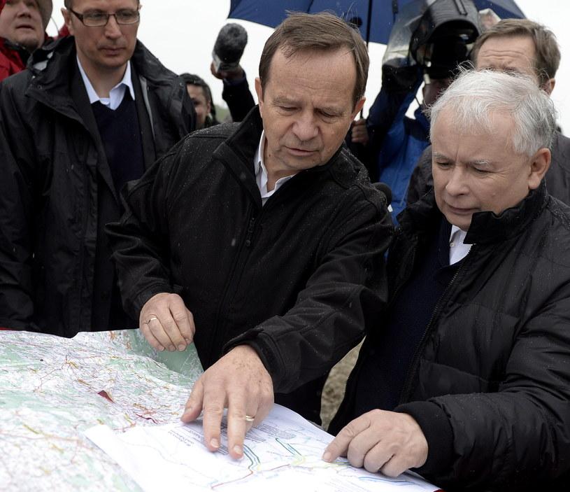 Prezes PiS Jarosław Kaczyński i marszałek woj. podkarpackiego Władysław Ortyl /Darek Delmanowicz /PAP