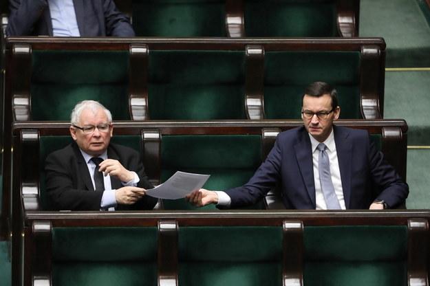 Prezes PiS Jarosław Kaczyński i premier Mateusz Morawiecki w Sejmie /Wojciech Olkuśnik /PAP