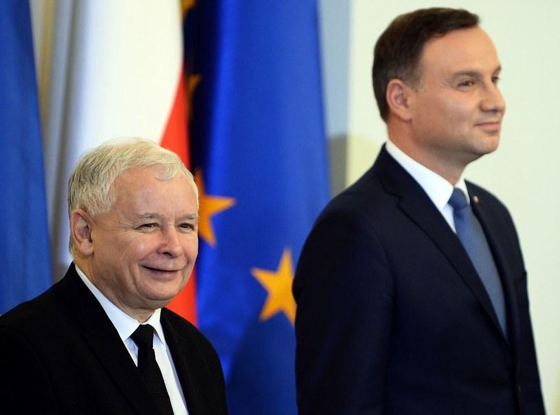 Prezes PiS Jarosław Kaczyński i prezydent Andrzej Duda /AFP