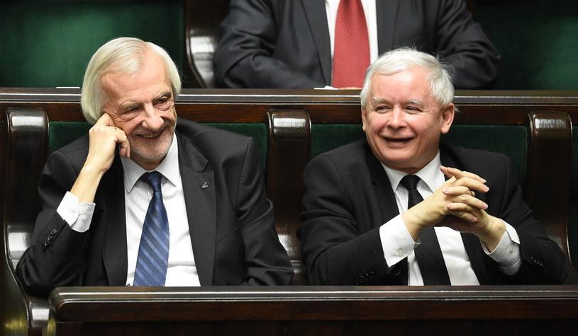 Prezes PiS Jarosław Kaczyński  i wicemarszałek Sejmu Ryszard Terlecki /Radek Pietruszka /PAP