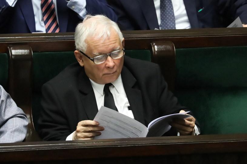 Prezes PiS Jarosław Kaczyński na sali sejmowej / Tomasz Gzell    /PAP