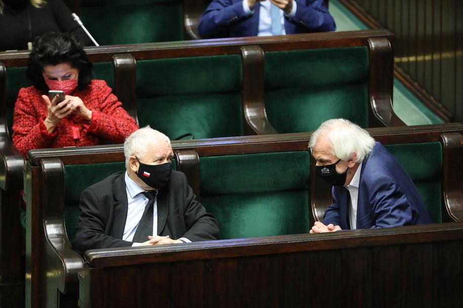 Prezes PiS Jarosław Kaczyński oraz wicemarszałek Sejmu Ryszard Terlecki /Wojciech Olkuśnik /PAP