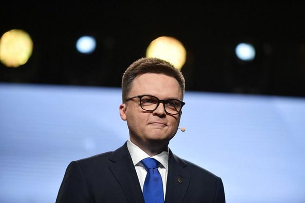 Prezes Polski 2050 Szymon Hołownia podczas konwencji ruchu / Marcin Obara  /PAP
