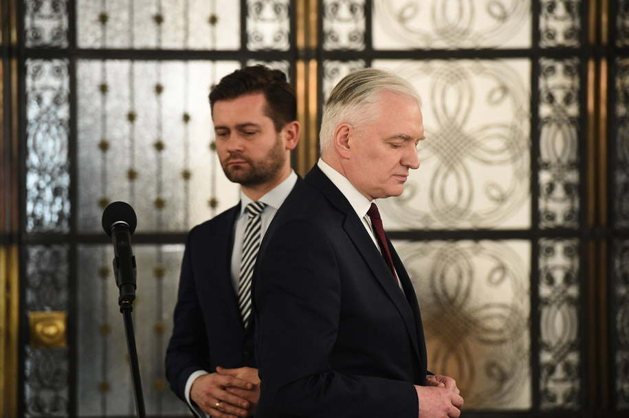 Prezes Porozumienia Jarosław Gowin i poseł Kamil Bortniczuk / Radek Pietruszka   /PAP