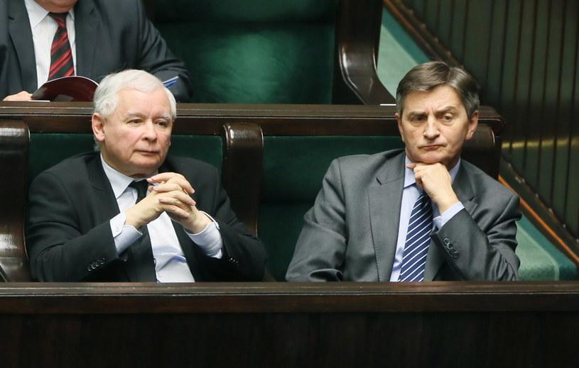 Prezes Prawa i Sprawiedliwości Jarosław Kaczyński oraz marszałek Sejmu Marek Kuchciński /Tomasz Gzell /PAP