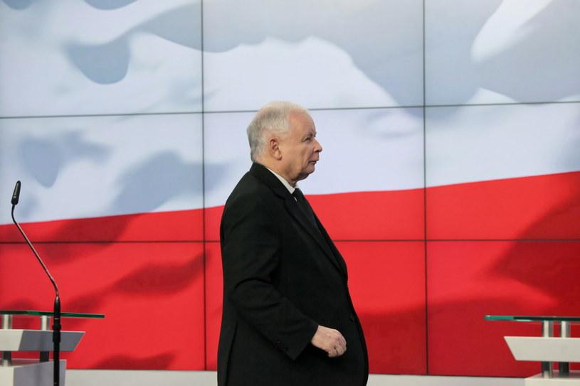 Prezes Prawa i Sprawiedliwości Jarosław Kaczyński podczas konferencji prasowej /Mateusz Marek /PAP