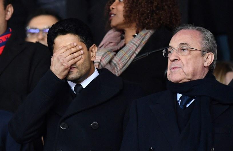 Prezes PSG Nasser al-Khelaifi (z lewej), który zdecydował, że mistrz Francji nie przystąpi do Superligi oraz prezes Realu i Superligi Florentino Perez. /AFP