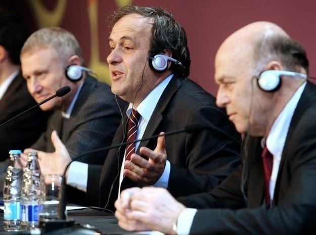 Prezes PZPN Grzegorz Lato (z prawej) i szef UEFA Michel Platini /AFP