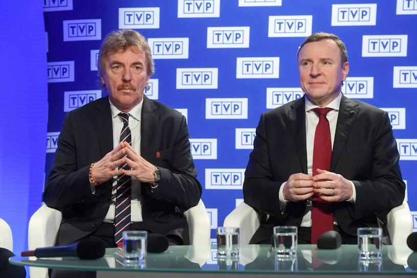 Prezes PZPN-u Zbigniew Boniek z prezesem TVP Jackiem Kurskim /Piotr Nowak /PAP