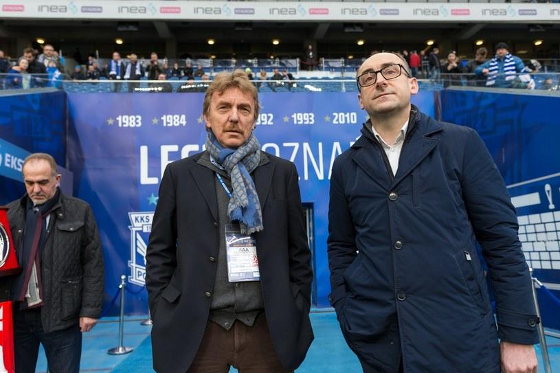 Prezes PZPN Zbigniew Boniek (L) i Karol Klimczak (P) z Lecha Poznań, który jest też szefem Rady Nadzorczej Ekstraklasy SA. /Przemysław Szyszka /East News